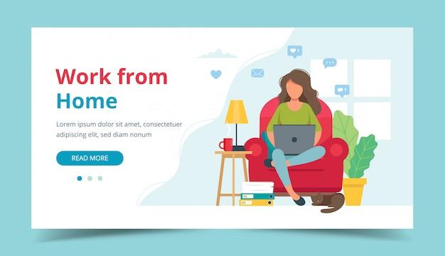Home-office-konzept, frau, die von zu hause aus auf einem stuhl sitzt, student oder freiberufler. Premium Vektoren