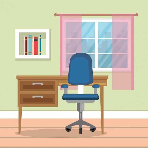 Home-office-platz haus Kostenlosen Vektoren