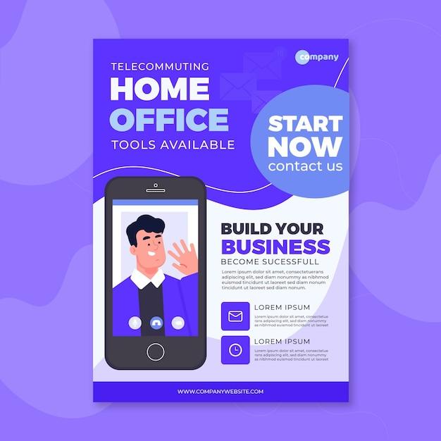 Home-office-tools zur verfügung poster-vorlage Kostenlosen Vektoren