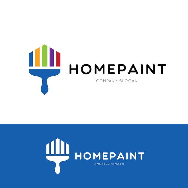 Home paint-logo-vorlage, pinsel-logo-design-konzept, vektor-illustration Premium Vektoren