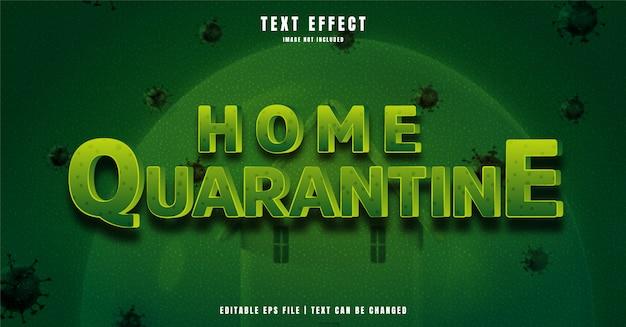 Home quarantäne 3d bearbeitbarer texteffekt Premium Vektoren