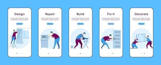 Home reparatur onboarding mobile app bildschirm flache vorlage Premium Vektoren