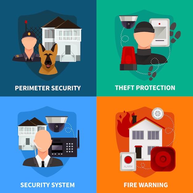 Home security 2x2 satz von diebstahlschutz feuer warnung und elektronische alarmanlage Kostenlosen Vektoren
