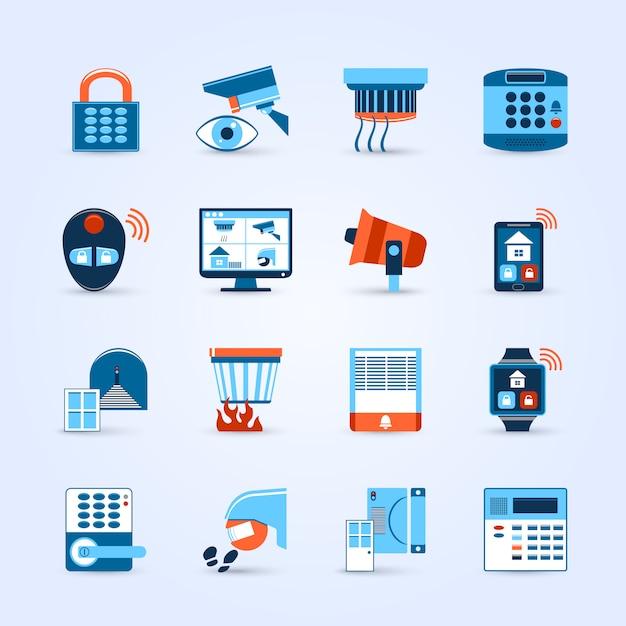 Home security icons set Kostenlosen Vektoren
