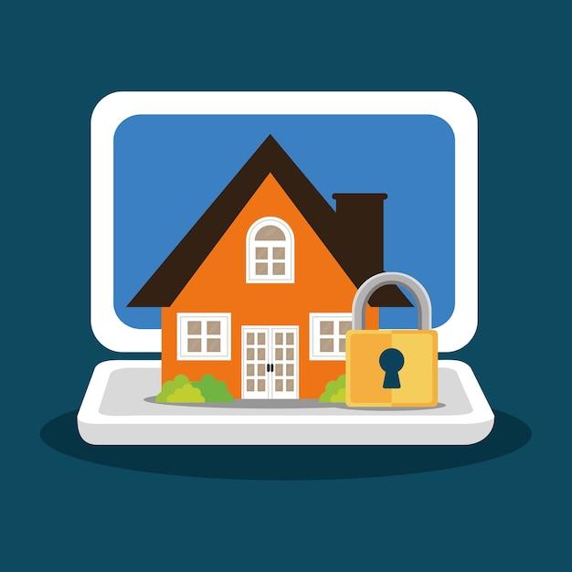 Home security laptop vorhängeschloss Premium Vektoren