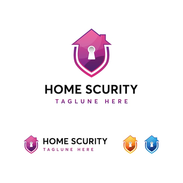 Home security logo vorlage Premium Vektoren