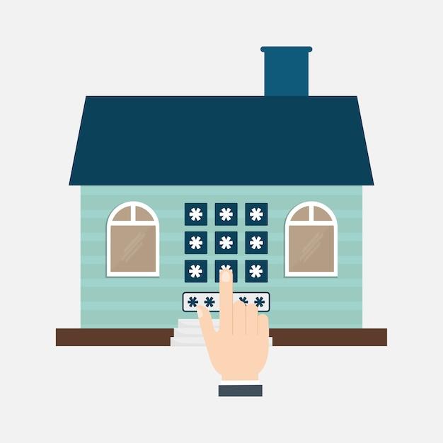 Home security technologie zugang eigentum Premium Vektoren