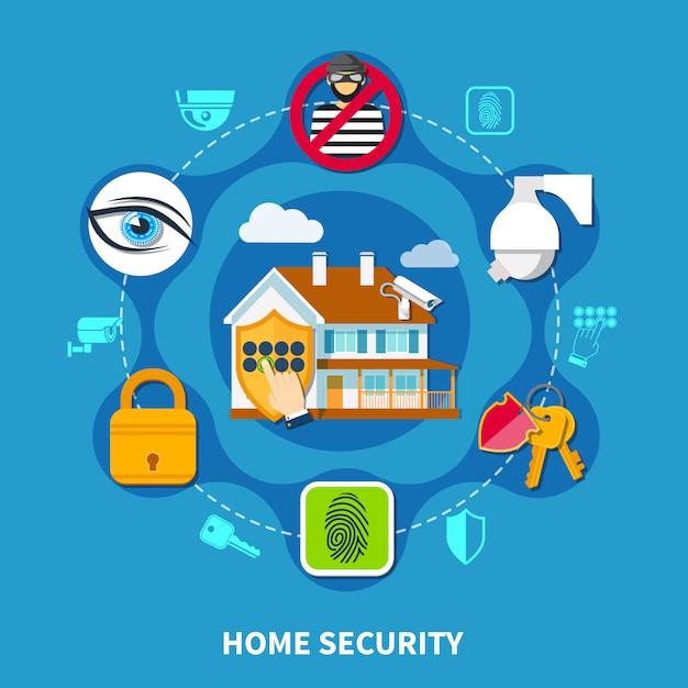 Home security zusammensetzung Premium Vektoren