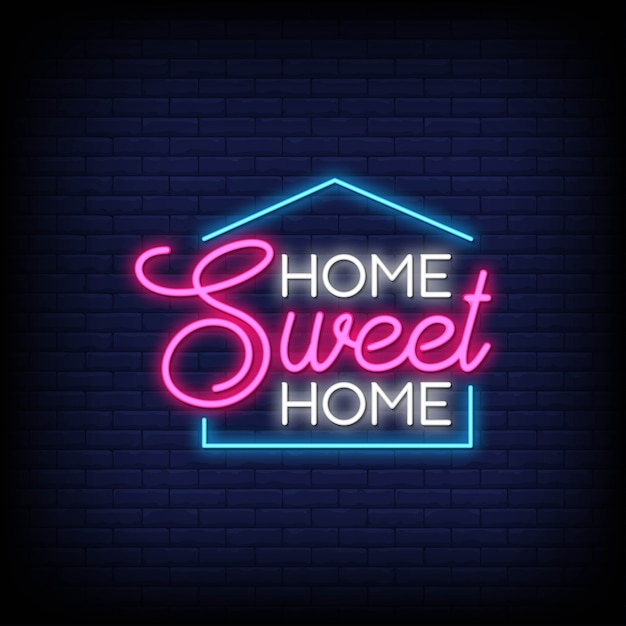 Home sweet home für poster im neonstil Premium Vektoren