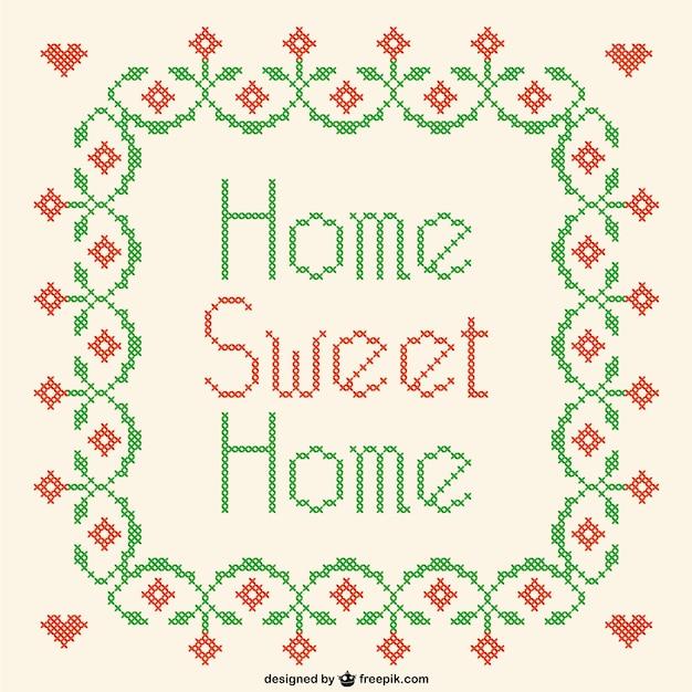 Home sweet home kreuzstich vektor Kostenlosen Vektoren