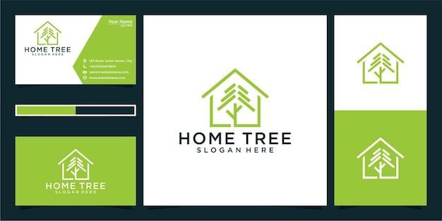 Home tree logo design und visitenkarte Premium Vektoren