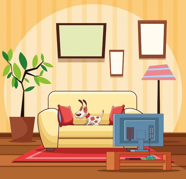 Home wohnzimmer interieur Premium Vektoren