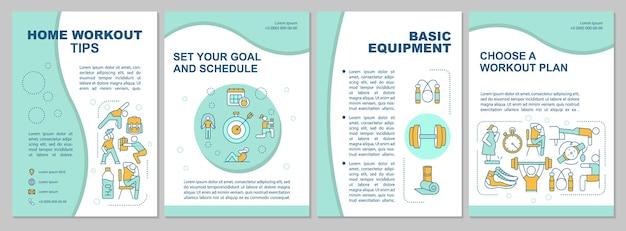 Home workout tipps broschüre vorlage. grundausrüstung. flyer, broschüre, faltblattdruck, umschlaggestaltung mit linearen symbolen. Premium Vektoren