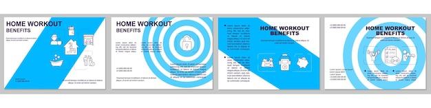 Home workout vorteile broschüre vorlage. pluspunkte für heimtraining. flyer, broschüre, faltblattdruck, umschlaggestaltung mit linearen symbolen. Premium Vektoren