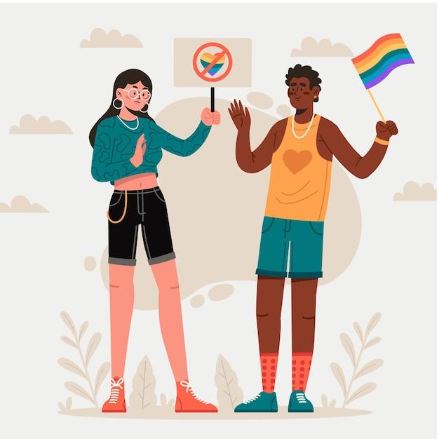 Homophobie-illustrationskonzept Kostenlosen Vektoren