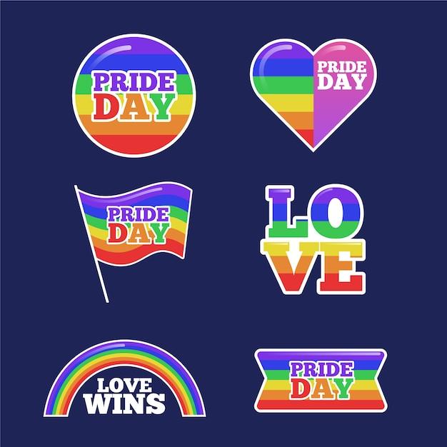 Homosexuell und stolz etiketten konzept Kostenlosen Vektoren