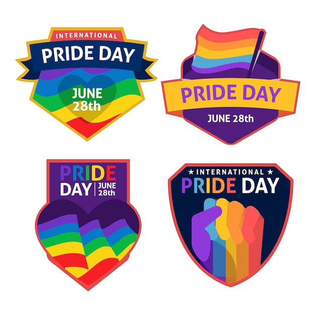 Homosexuell und stolz stolz tag etiketten Kostenlosen Vektoren