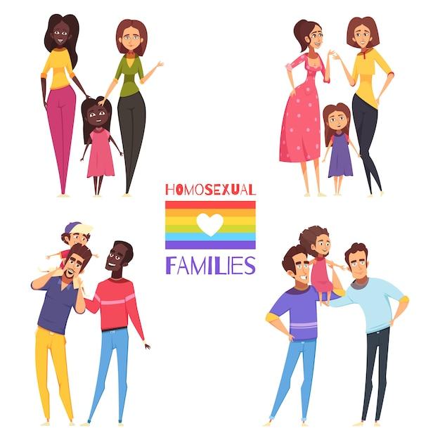 Homosexuelle familien eingestellt Kostenlosen Vektoren