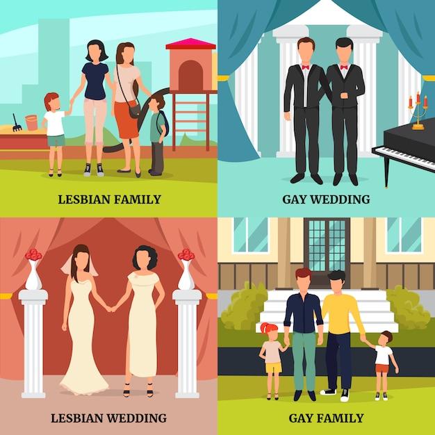 Homosexuelle familienkonzeptikonen, die mit symbolen der homosexuellen und lesbischen hochzeitssymbole eingestellt wurden, lokalisierten vektorkranken Kostenlosen Vektoren