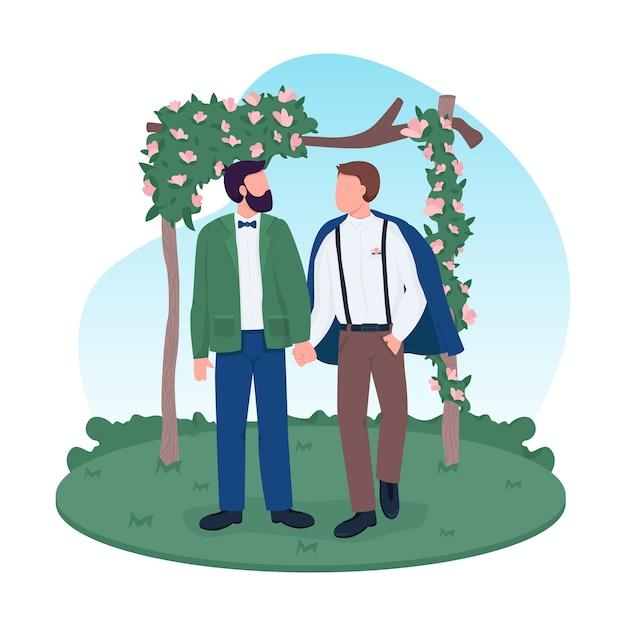 Homosexuelles ehepaar 2d web banner Premium Vektoren