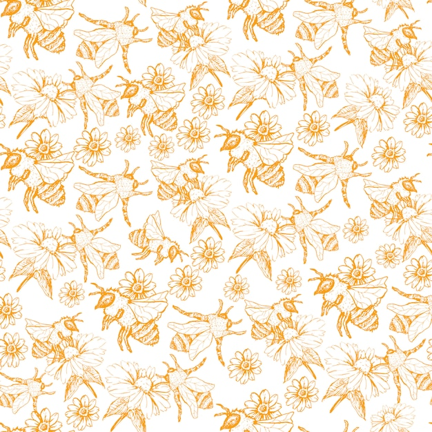 Honey bee seamless pattern, skizzen-illustration mit biene hives in vintage-stil Kostenlosen Vektoren