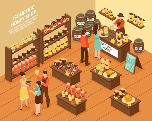 Honey farm shop isometrisches plakat Kostenlosen Vektoren