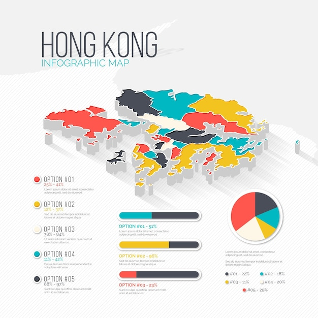 Hong kong karte infografiken Kostenlosen Vektoren