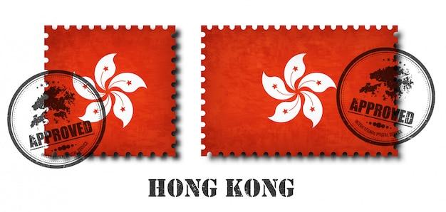Hong kong oder hong kongese flag muster briefmarke Premium Vektoren