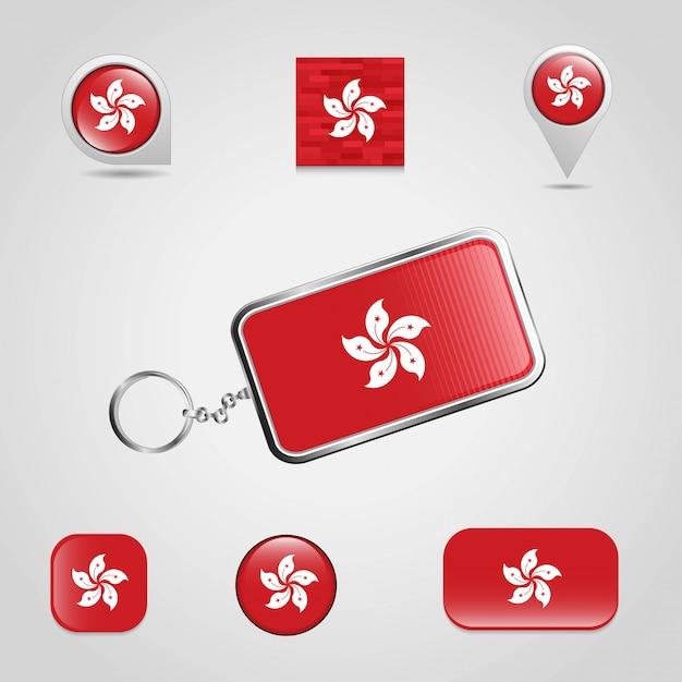 Hongkong-markierungsfahne Premium Vektoren