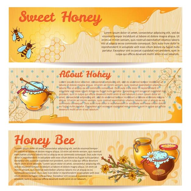 Honig banner set Premium Vektoren