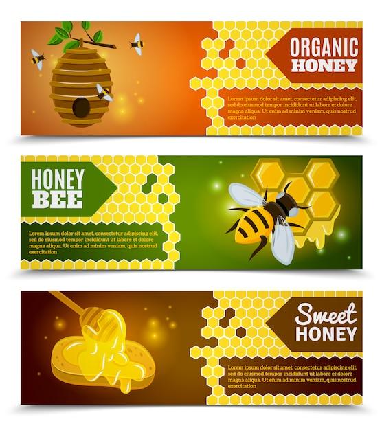 Honig-banner-set Kostenlosen Vektoren