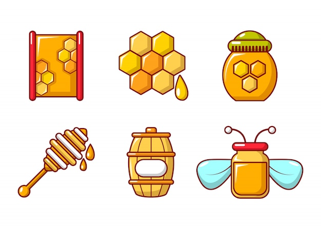 Honig-icon-set. karikatursatz honigvektorikonen eingestellt lokalisiert Premium Vektoren