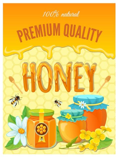 Honig mit tropfen von waben und fertigen gläsern vektorillustration Kostenlosen Vektoren