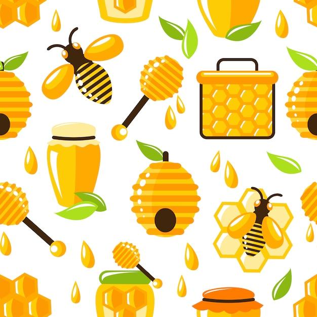 Honig nahtlose muster Kostenlosen Vektoren