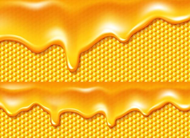Honig tropft am bienenwabenhintergrund Kostenlosen Vektoren