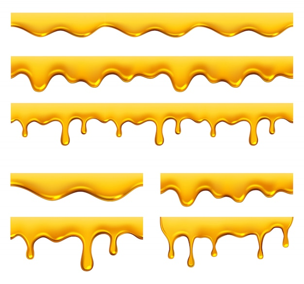 Honig tropft. gelbes sirup flüssiges goldenes öl tropft und spritzt realistische schablone Premium Vektoren