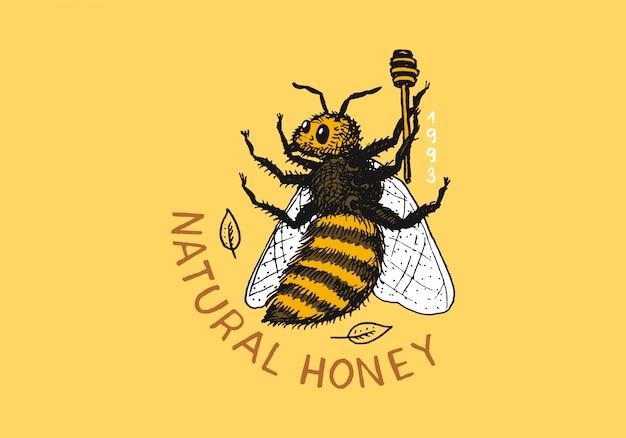Honig und bienen. vintage logo für typografie, shop oder schilder. Premium Vektoren