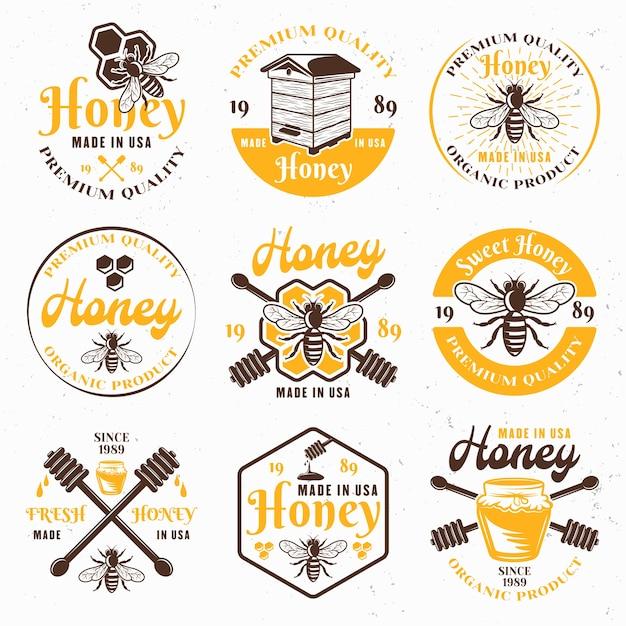 Honig und bienenhaus satz von farbigen emblemen, etiketten, abzeichen und zeichen für paket auf hellem hintergrund Premium Vektoren