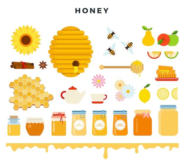 Honig und imkerei, symbolsatz in flachen stil. bienen, bienenstock, bienenwabe, honig, imkereiwerkzeuge, vektorillustration. Premium Vektoren
