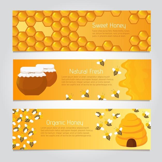 Honigbanner Premium Vektoren