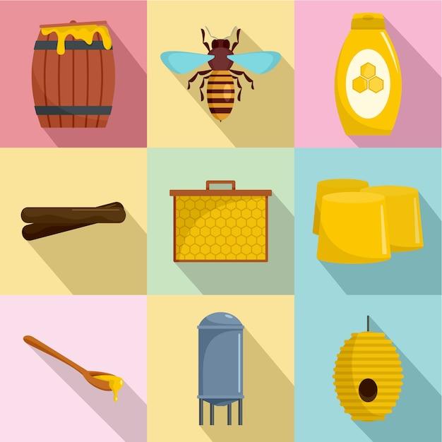 Honigbienenikonen eingestellt, flache art Premium Vektoren