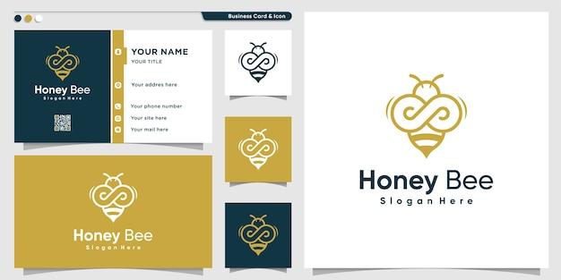 Honigbienenlogo mit goldenem unendlichkeitslinienkunststil und visitenkartenentwurf Premium Vektoren