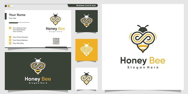 Honigbienenlogo mit unendlichem linienkunststil und visitenkartenentwurf Premium Vektoren