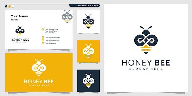 Honigbienenlogo mit unendlichkeitskonturkonzept und visitenkartenentwurf Premium Vektoren