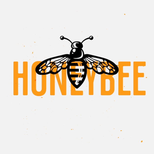 Honigbienenlogokonzept, weinlesevektorillustration Premium Vektoren