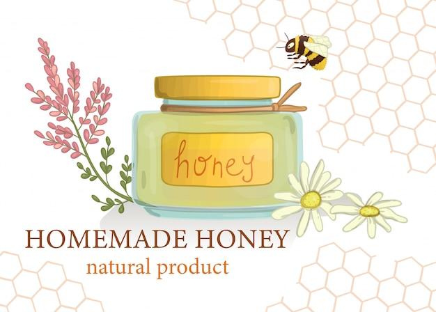 Honigglas mit wilden blumen und hummel Premium Vektoren
