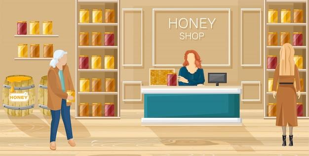 Honigladen flachen stil Premium Vektoren