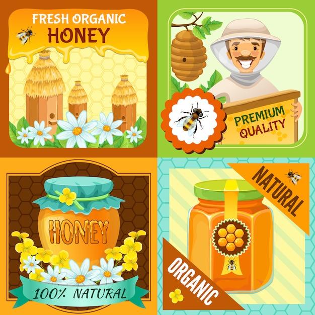 Honigquadrat-zusammensetzungssatz mit beschreibungen der frischen natürlichen bio-natürlichen vektorillustration des frischen bio-honigs Kostenlosen Vektoren