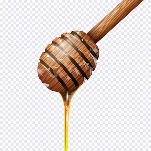 Honigschöpflöffel auf transparent Premium Vektoren