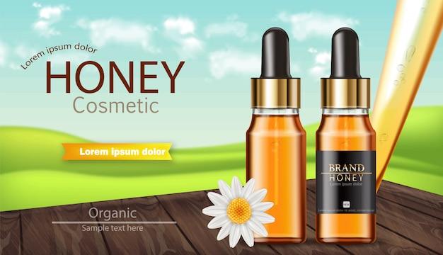 Honigserumflasche banner Premium Vektoren
